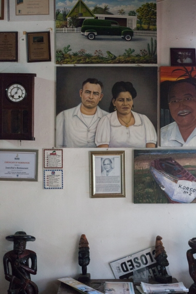 Old family poraits and awards line the walls as you enter Jaanchie's.